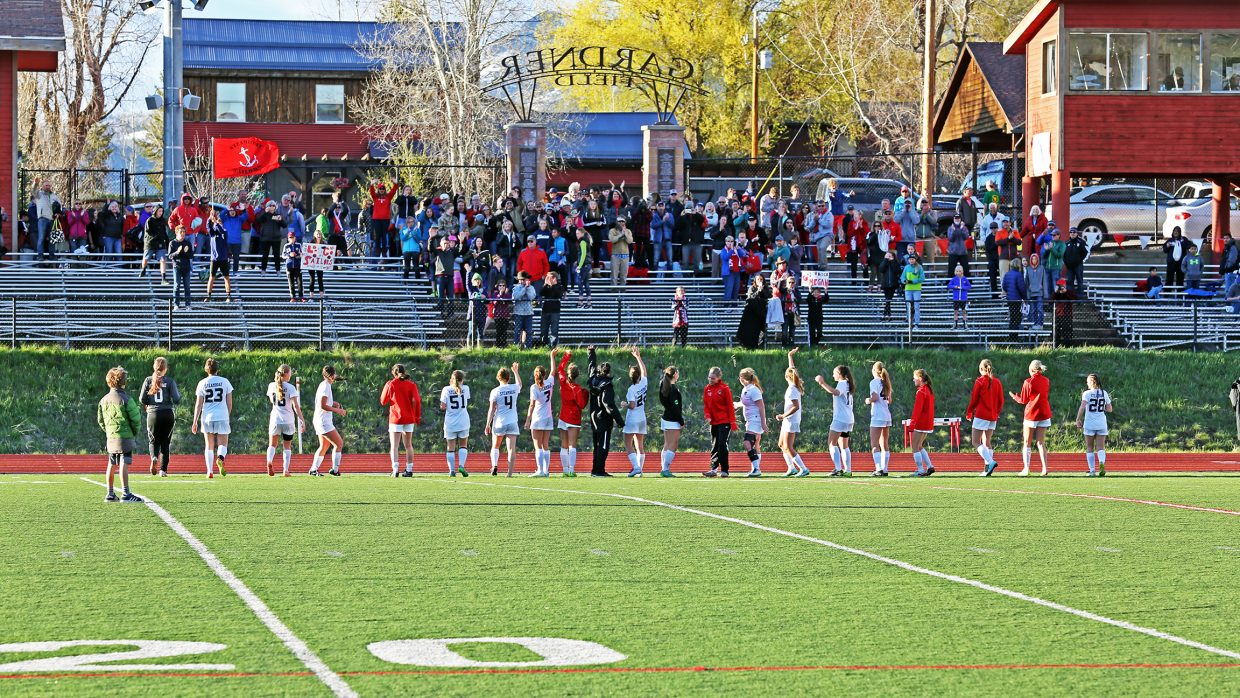 The Steamboat Springs High School girls soccer team thanks the fans after Wednesday's 6-1 against Longmont at Gardner Field.