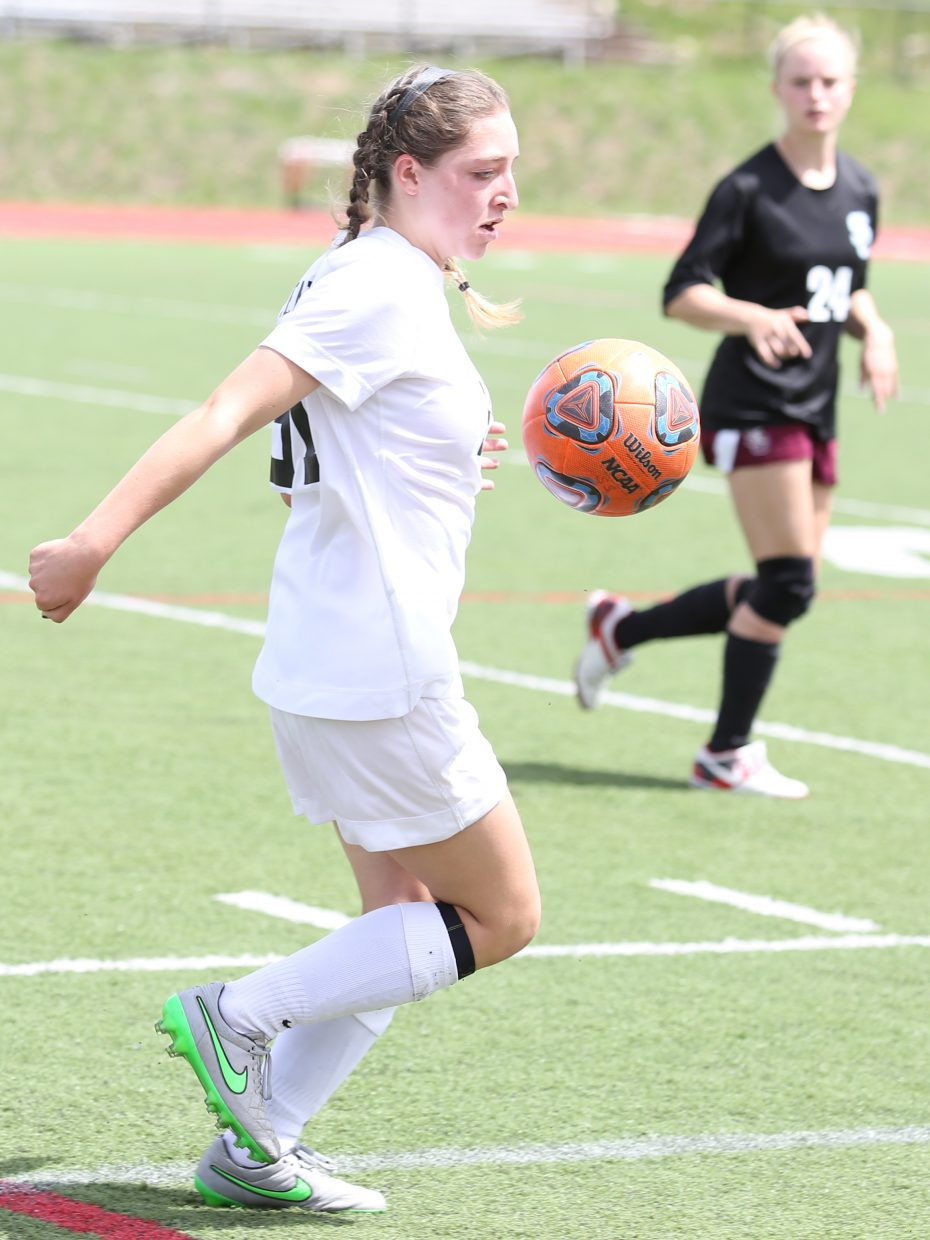 Steamboat sophomore Teagan Ludwick tries to control the ball Saturday against Silver Creek at Gardner Field.