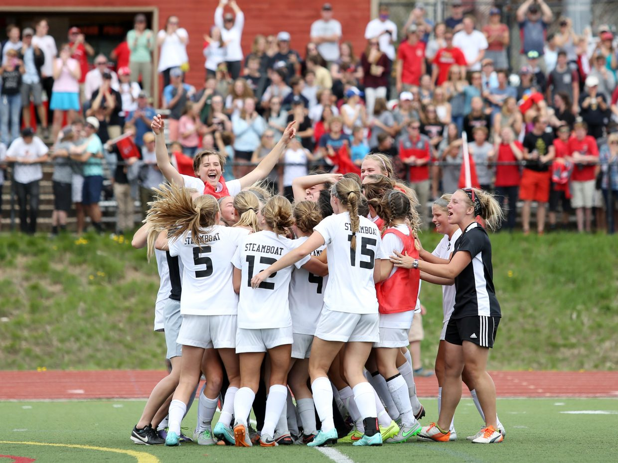 The Steamboat Springs High School girls soccer team celebrates after defeating Silver Creek Saturday in the second-round of the Class 4A playoffs.