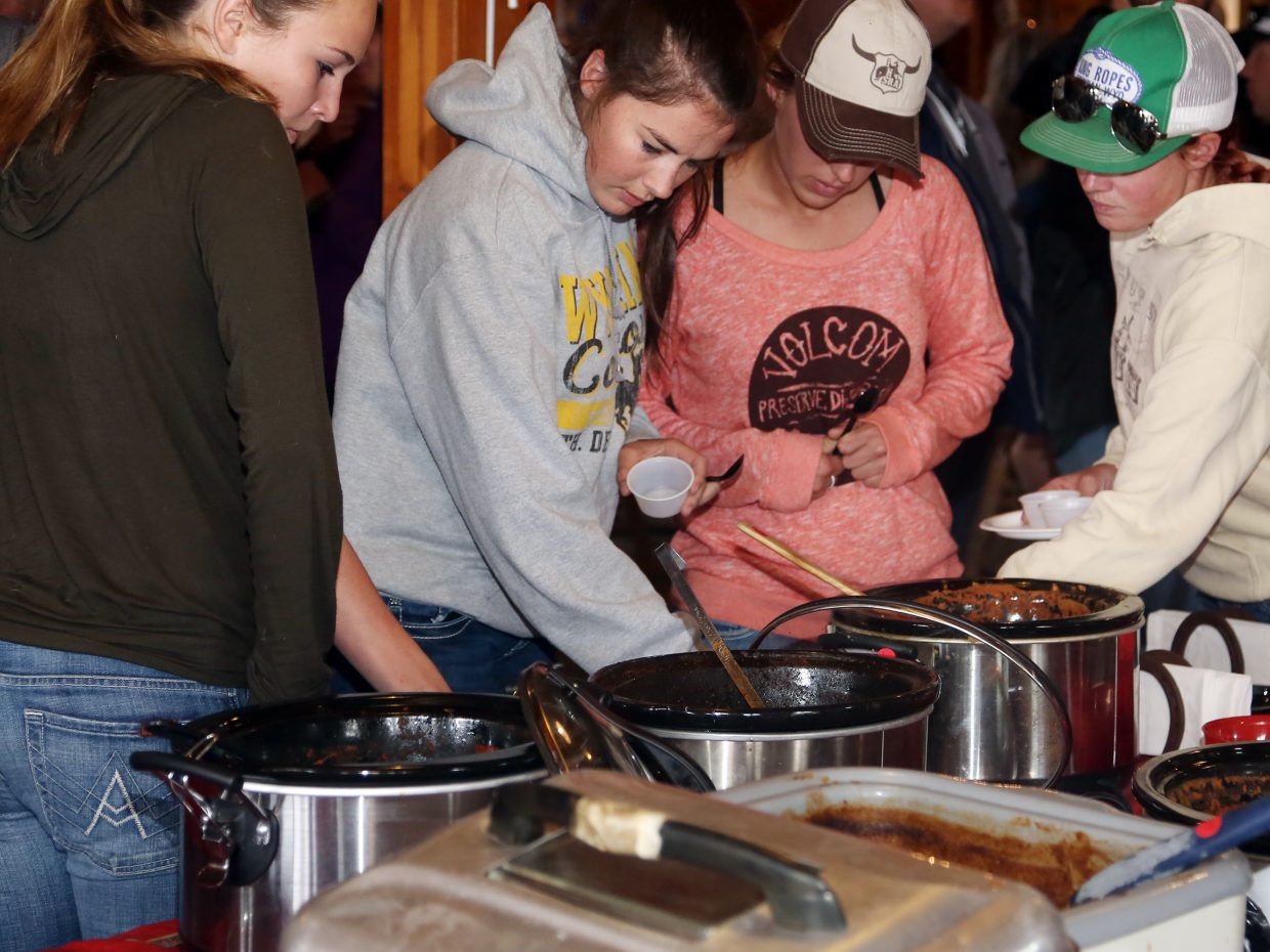 Chili-goers choose their samples Sunday during the annual Great North Routt Chili Cook Off at Hahn's Peak Roadhouse.