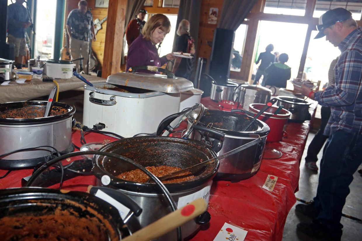 Various chilis line the table Sunday during the annual Great North Routt Chili Cook Off at Hahn's Peak Roadhouse.