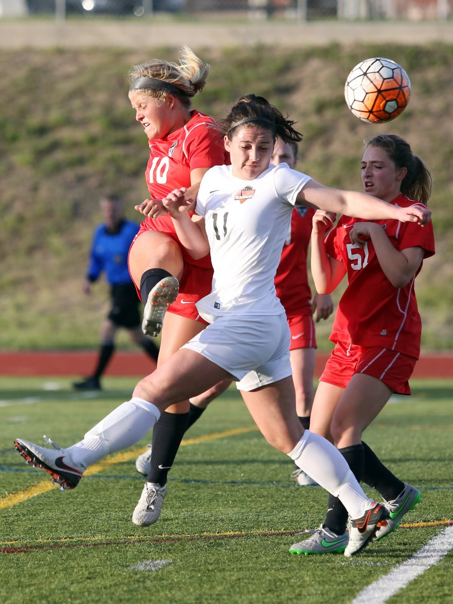 Steamboat senior Ellese Lupori, left wearing No. 10, competes against Lewis-Palmer in the state quarterfinals earlier this spring. Lupori earned second team all-state honors in Class 4A.