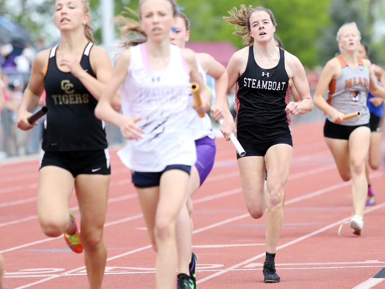 Steamboat Springs senior Kathleen O'Connell competes in the girls 4x800-meter relay race Thursday at the state track meet in Lakewood. The Sailors finished 10th, topping the school record in the process.