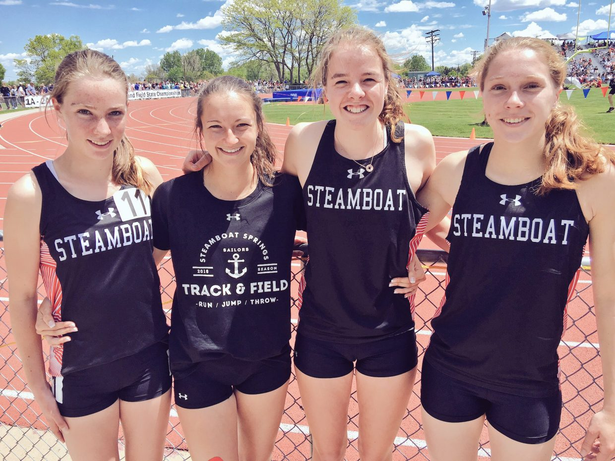 From left, Steamboat Springs 4x800 relay team members Winter Boese, Alexandra Tumminello, Kathleen O'Connell and Allison Casey. This foursome holds the school record in the event.