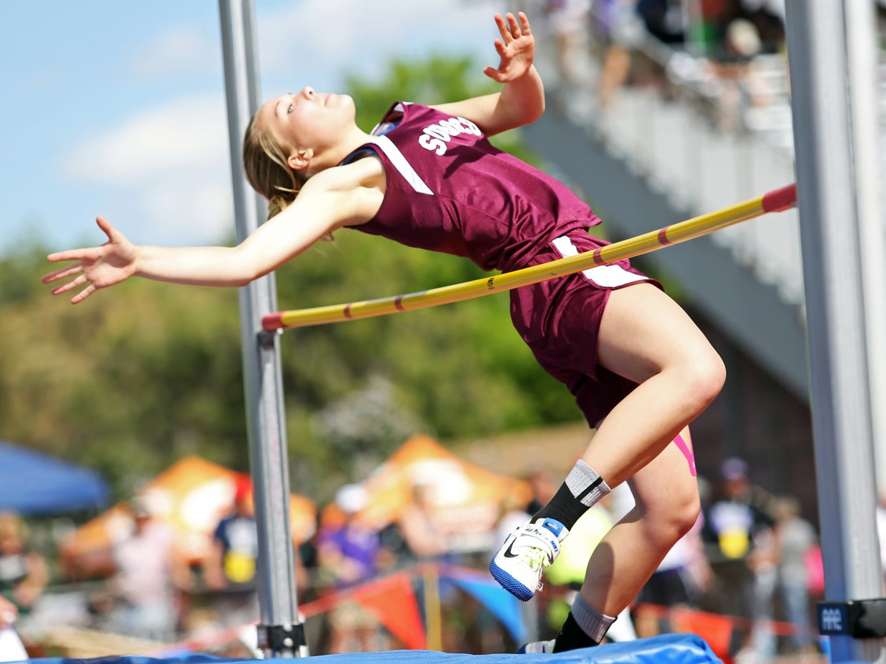 Soroco High School senior Kali Constine competes in the girls high jump Thursday during the first day of the state track and field meet in Lakewood.