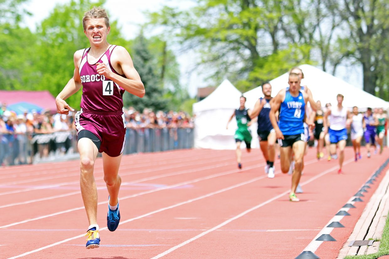 Soroco's Ben Kelley nears the finish of Friday's 800-meter race, which he won with a 2A meet record time of 1:55.61. Lyons runner Paul Roberts was second in 1:58.08. Roberts had set the 2A meet record in the 3,200-meter race earlier that morning.
