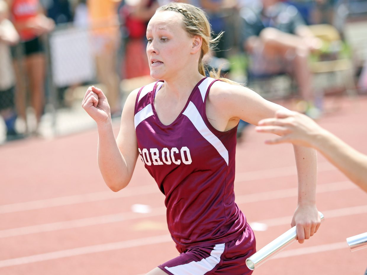 Soroco junior Cassie Constine competes in the girls 800-meter medley relay race Friday at the state meet in Lakewood. The Rams finished sixth.