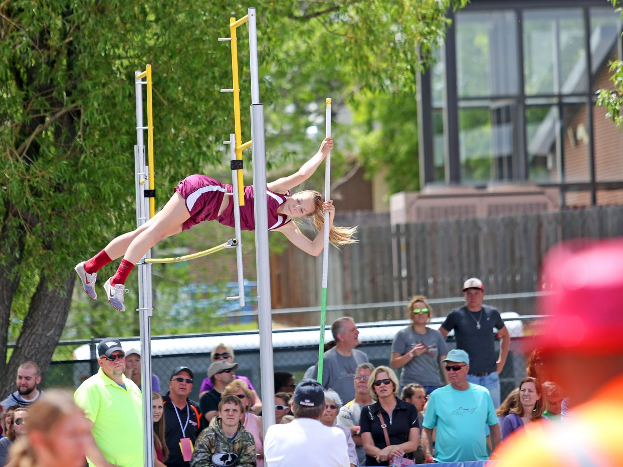 Soroco senior Kali Constine competes in the girls pole vault Friday at the state meet in Lakewood. She took fifth with a mark of eight feet, eight inches, a new school record.