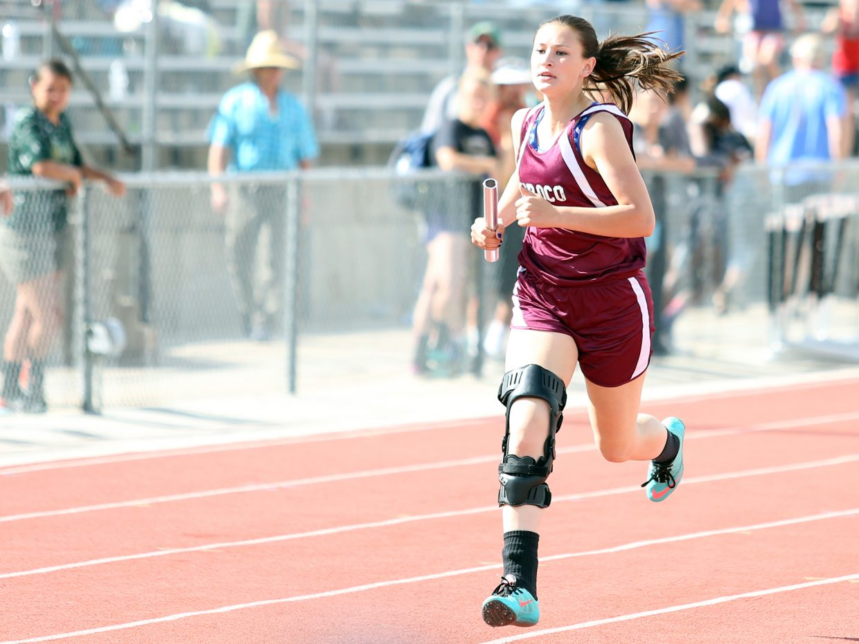 Soroco senior Briana Peterson competes in the girls 4x400-meter relay Friday at the state meet in Lakewood.