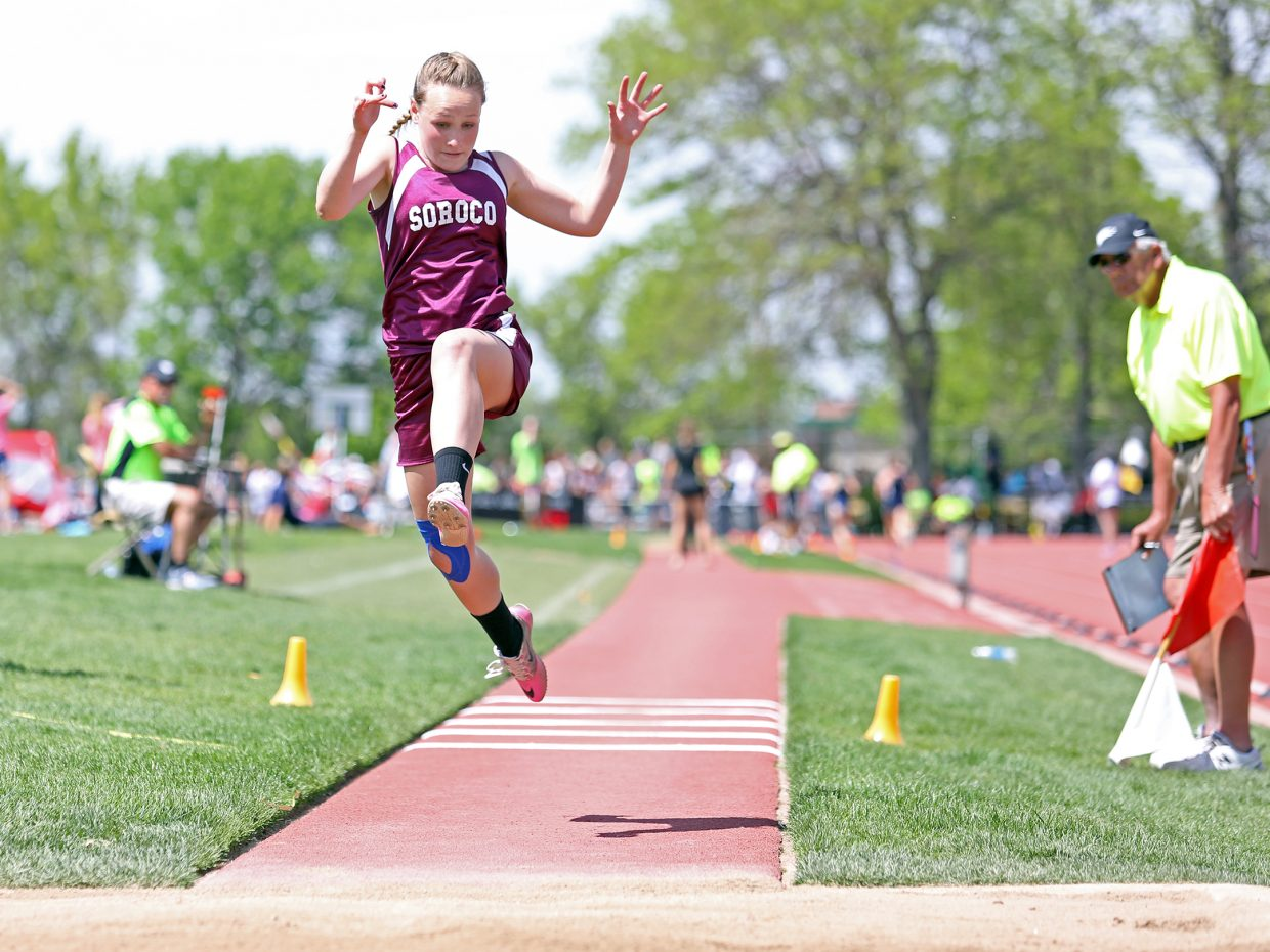 Soroco junior Cassie Constine competes in the 2A girls triple jump competition Saturday at the state track meet in Lakewood. Constine finished fifth and broke her own school record.