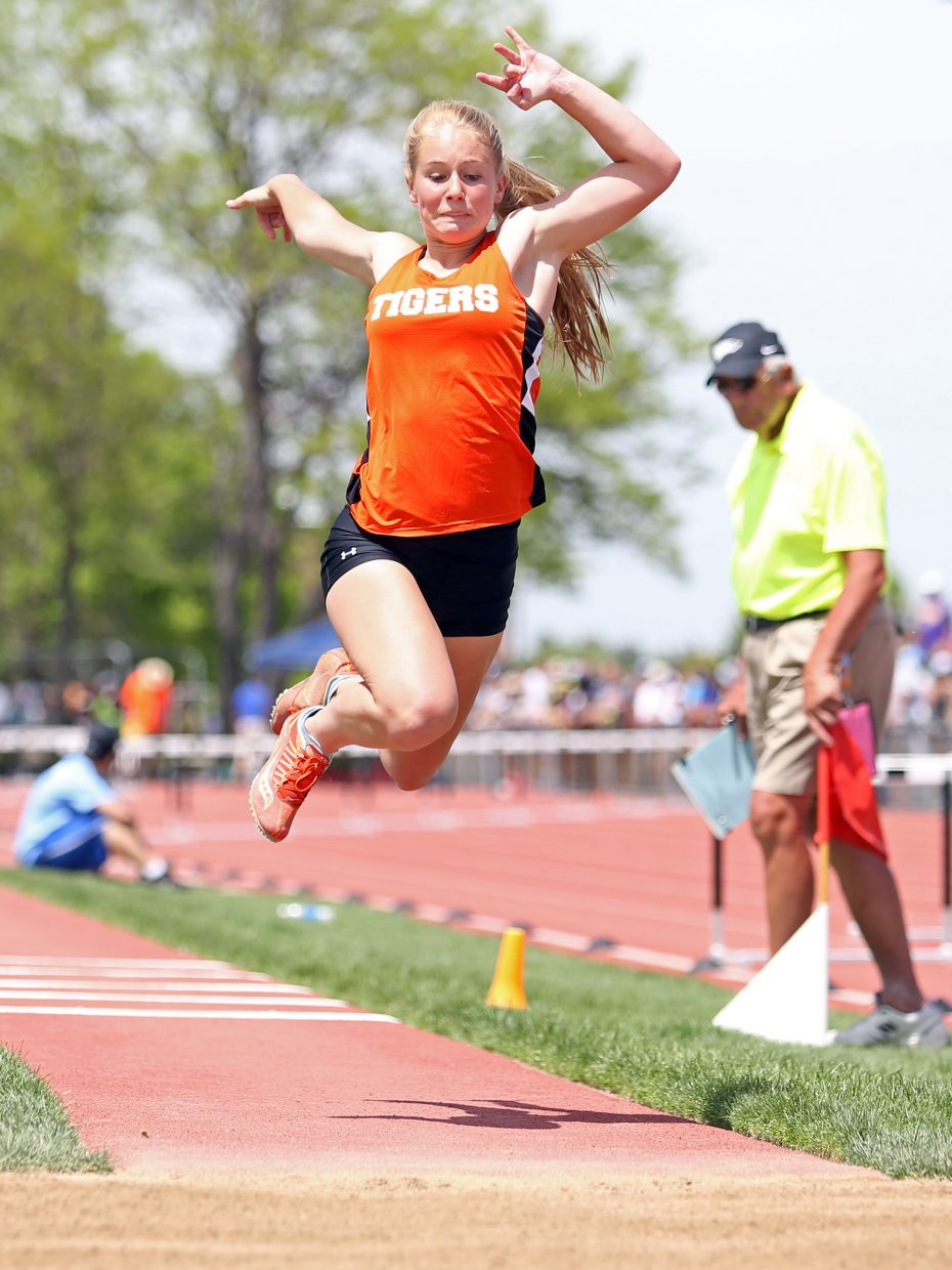 Hayden freshman Allison Ingols competes in the 2A girls triple jump Saturday at the state meet in Lakewood.