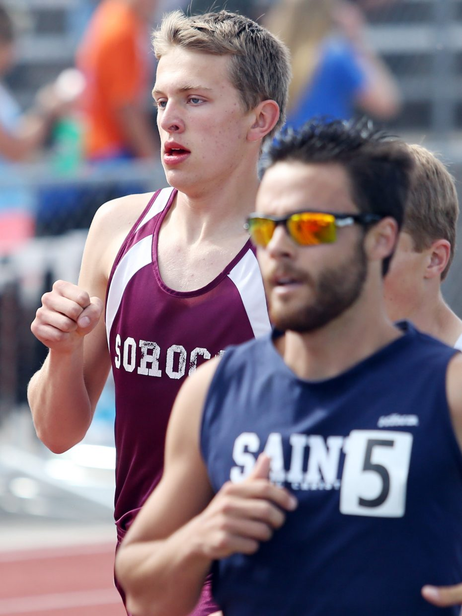Soroco sophomore Ben Kelley competes in the 2A boys 1,600-meter race Saturday at the state meet in Lakewood.