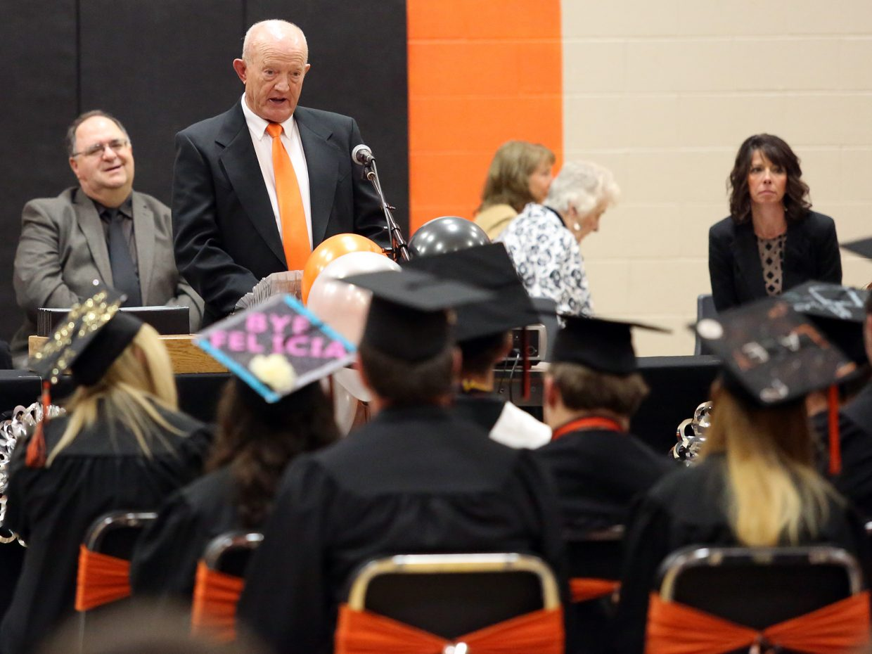 Bob Harris was the guest speaker during Sunday's graduation ceremony at Hayden High School.