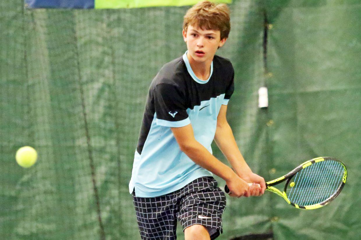 Steamboat Springs resident Andy Schuiling, 12, competes Sunday in the annual USTA Colorado 12 and under District Cup Championships inside The Tennis Center at Steamboat Springs. Schuiling is one of two locals, the other being Lucas Sands, competing in the weekend's tournament, which concludes Monday.