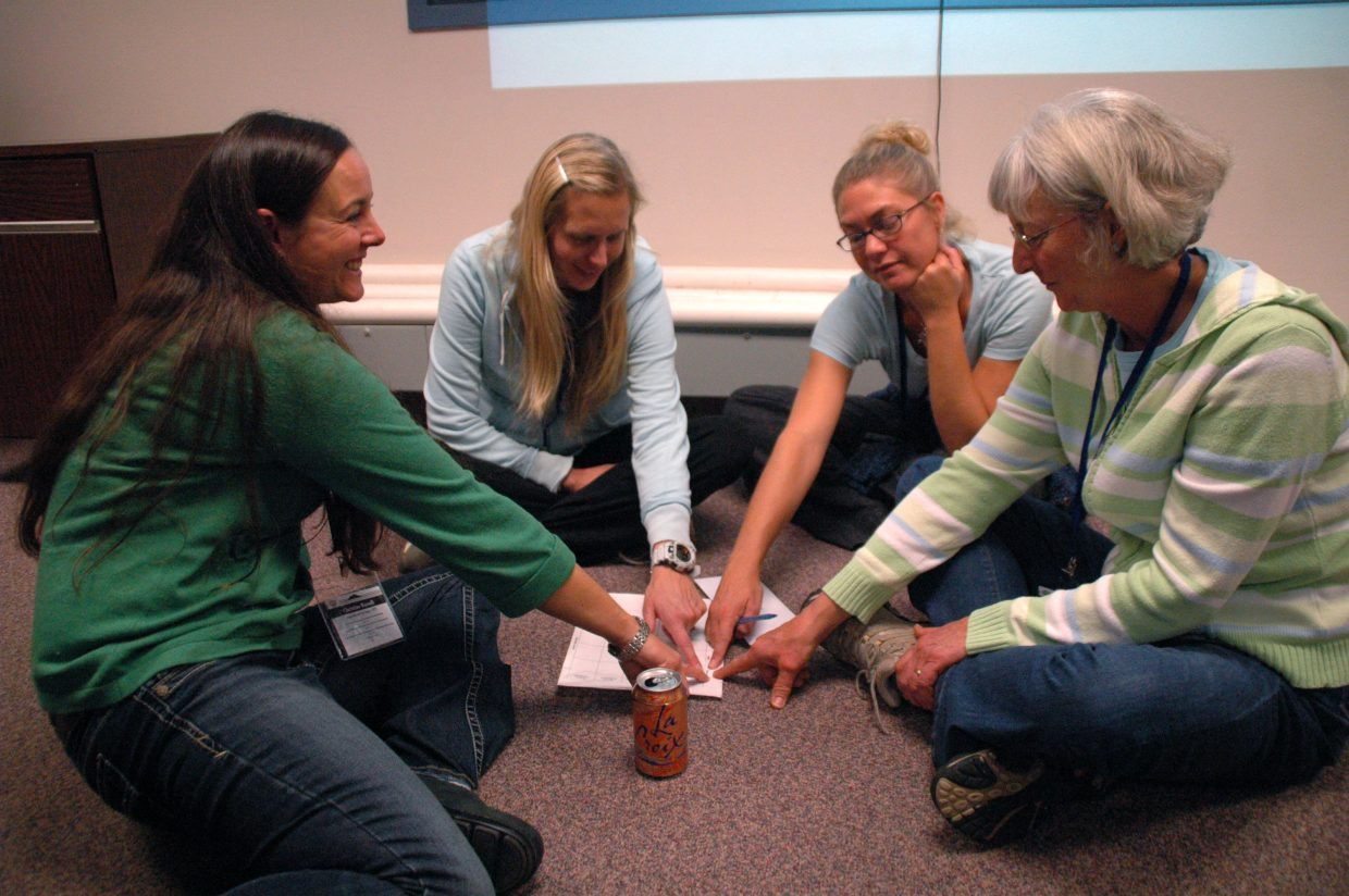 During Beth Skelton's English language learner breakout session, Christine Russell, from left, Holly Barclay, Bree Baughman and Debra Frazier participated in a language learning game.