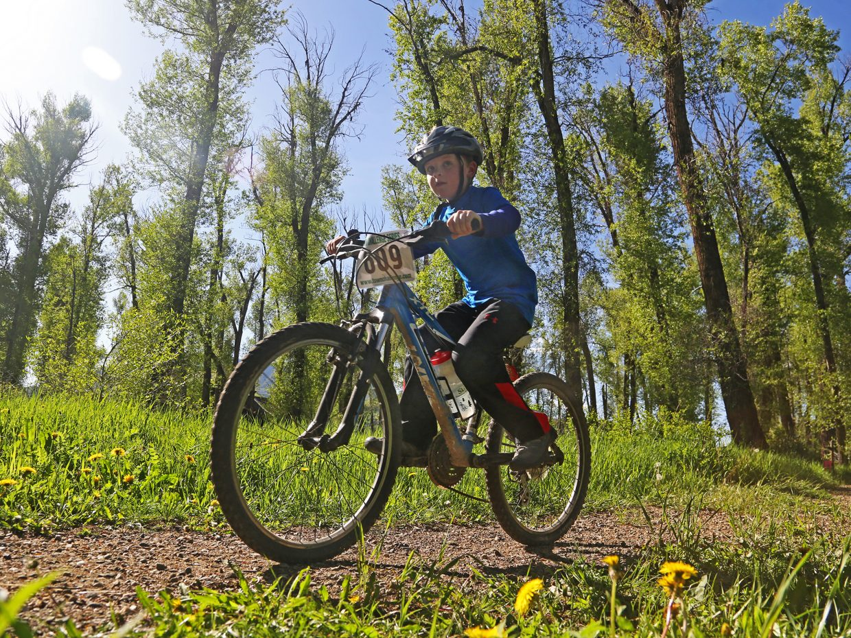 Youth rider Keaton Madigan takes to the trail during Wednesday's Town Challenge race at Marabou Ranch.