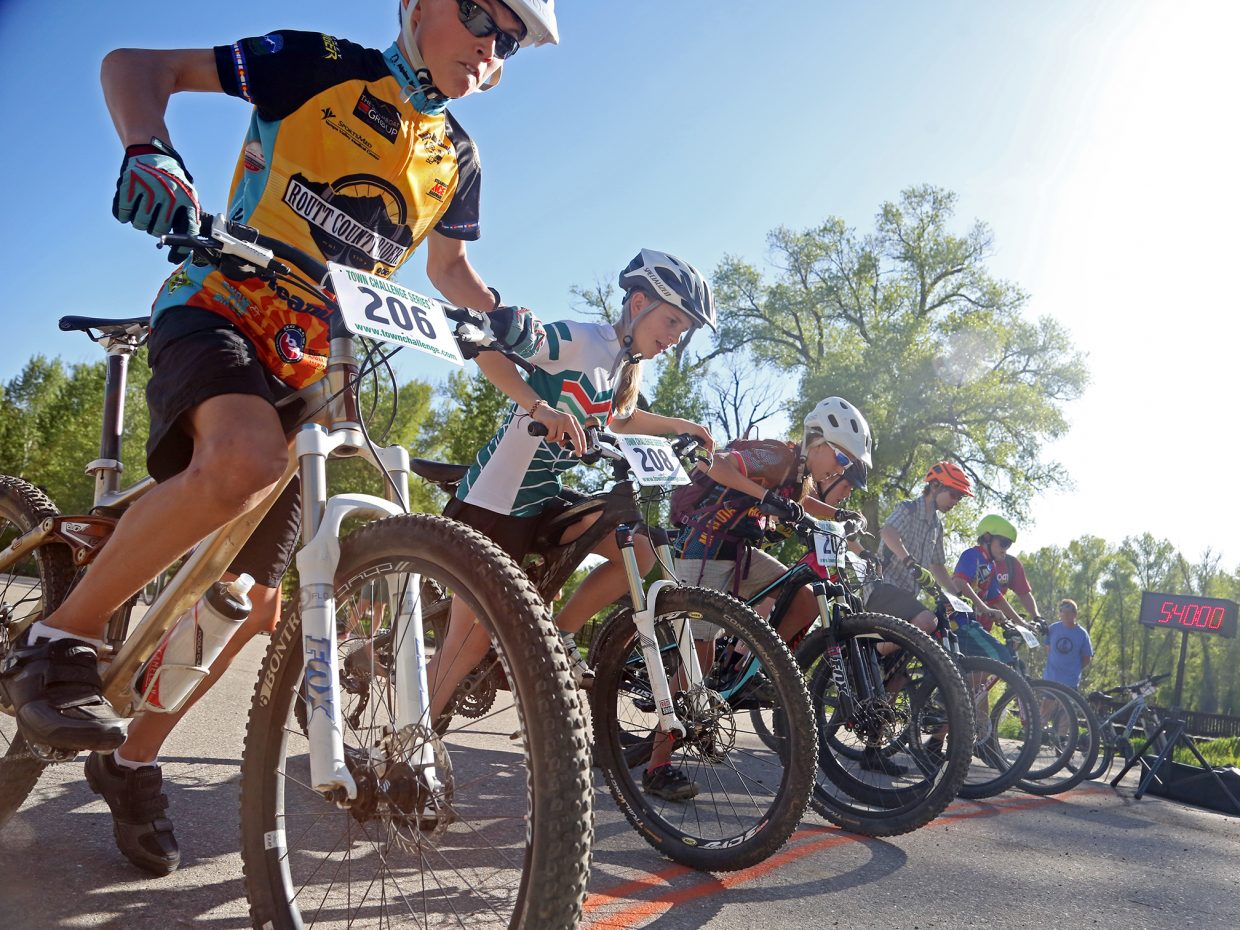 Youth riders line up at the start of their race Wednesday during the Marabou XC.