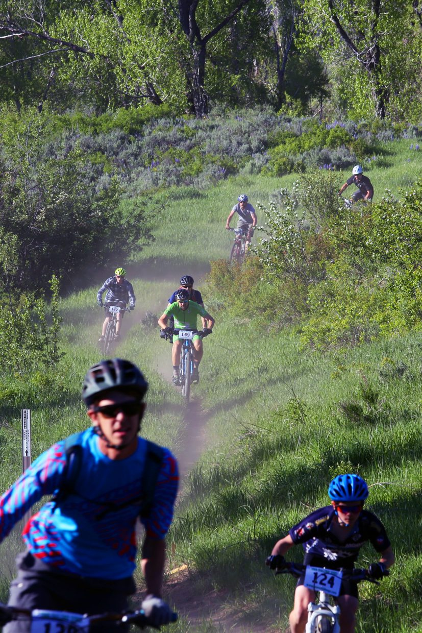 Bikers funnel down the final hill during Wednesday's Marabou XC.