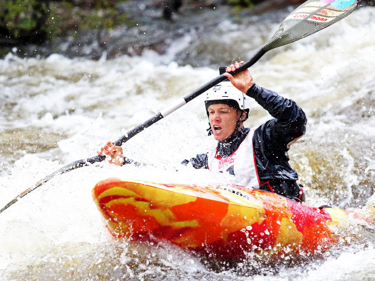England's Phil Mitchell fights through the torrent Friday during the Fish Creek Race, part of the weekend's Yampa River Festival activities. Mitchell finished second.
