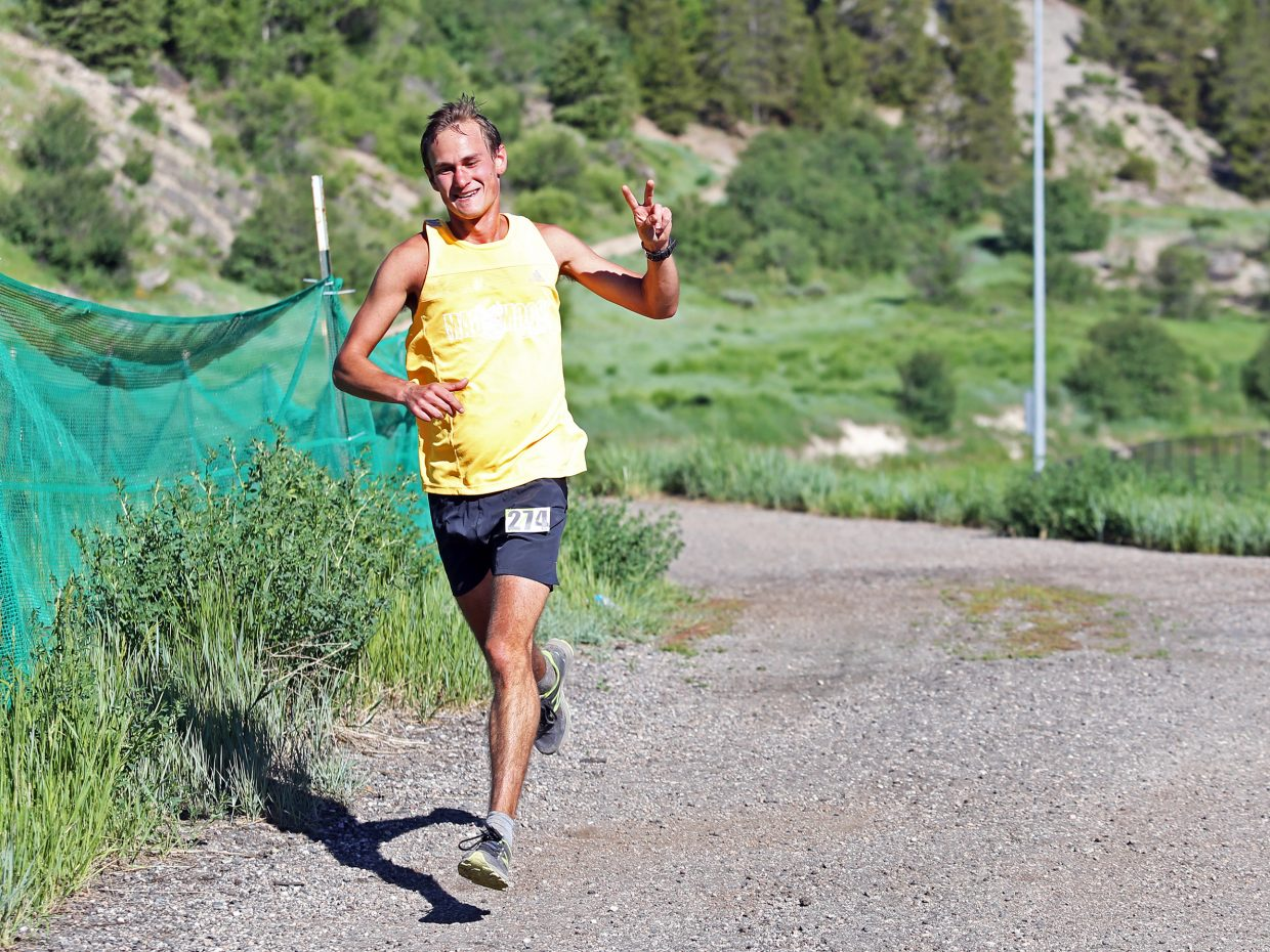 Steamboat Springs resident Devon Olson closes in on a first-place finish in the eight-mile portion of Saturday's Howelsen Hill Trail Run.