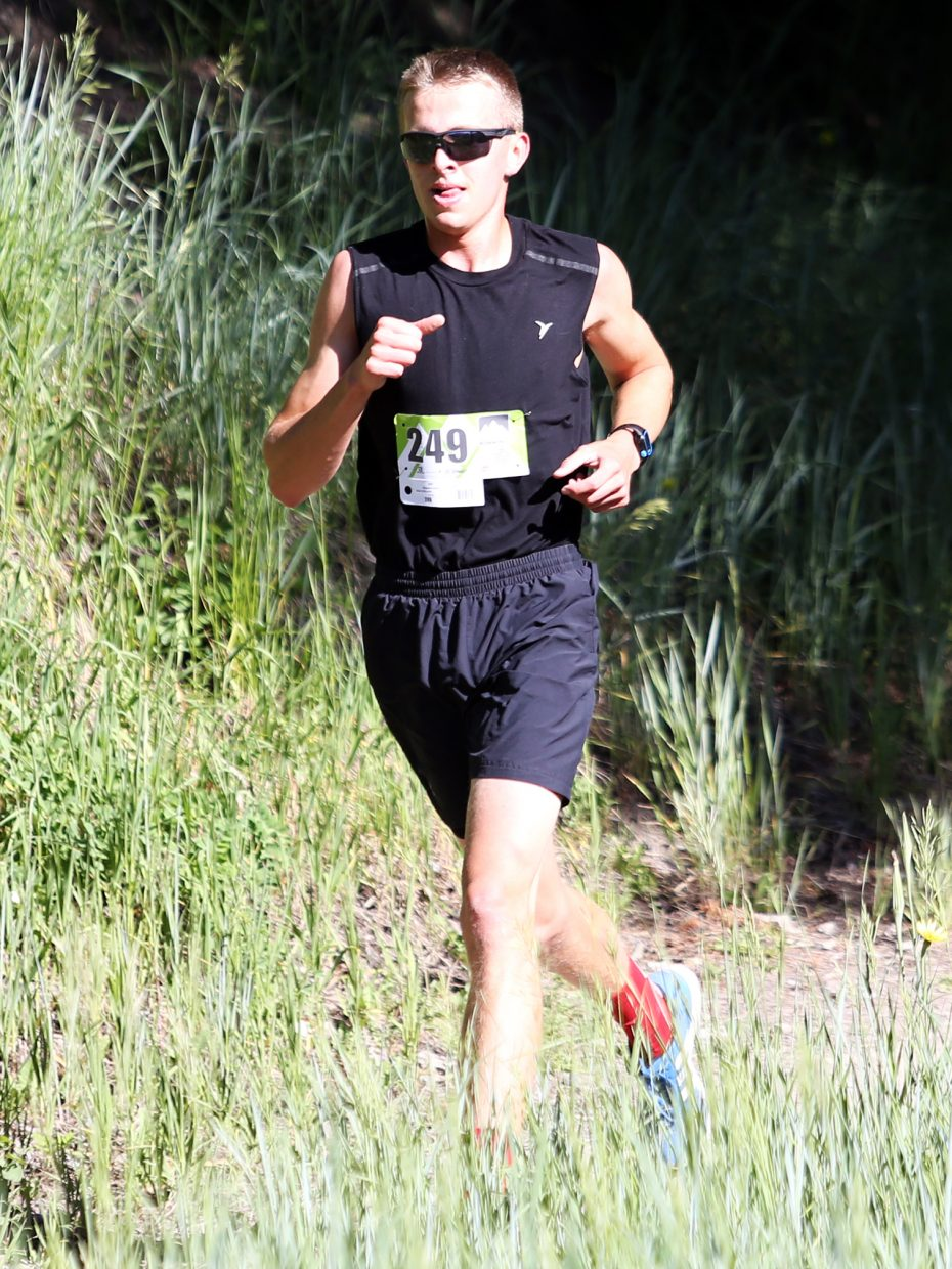 South Routt's Ben Kelley competes in Saturday's Howelsen Hill Trail Run. Kelley, who recently won the Class 2A state championship in the 800-meter race as a sophomore at Soroco High School in Oak Creek, won Saturday's four-mile event.