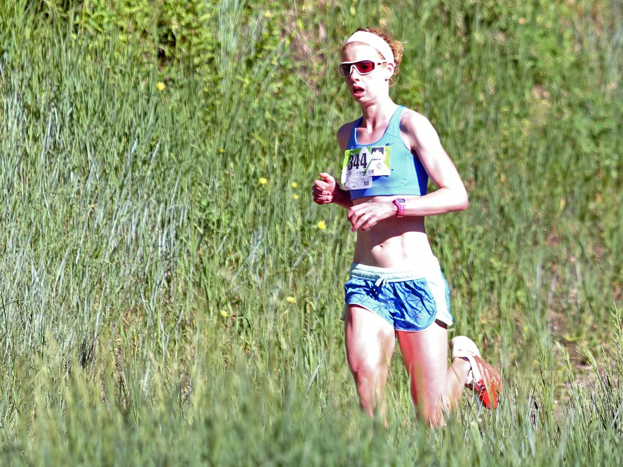 Kremmling's Tabor Scholl competes in Saturday's Howelsen Hill Trail Run. Scholl was the top female in the four-mile race and second overall.