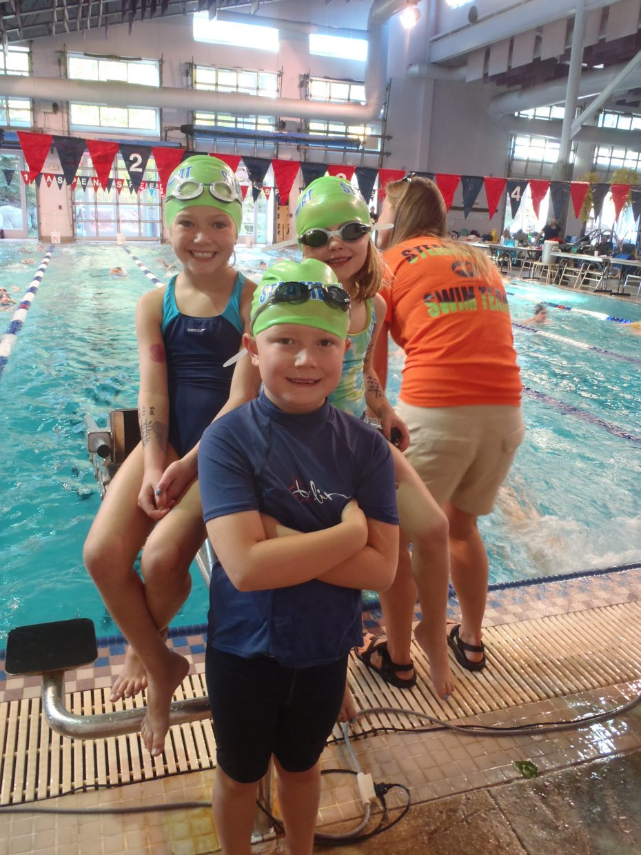 Steamboat swimmers Lila Boniface, 8, Samuel Thomas, 7, and Allie Nelson, 7, all competed in the Aspen Yellow Leaf Invitational on Oct. 12 and 13. The boys and girls combined to place fourth out of 11 teams at the meet.