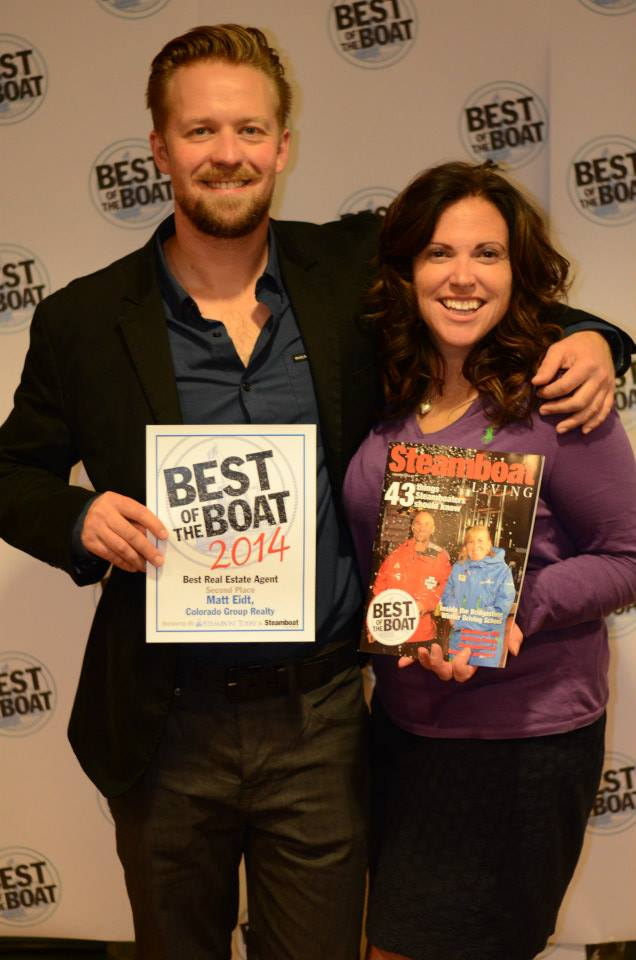 Matt Eidt and Reed Jones pose for a photo at the 2014 Best of the Boat party at the Steamboat Grand.