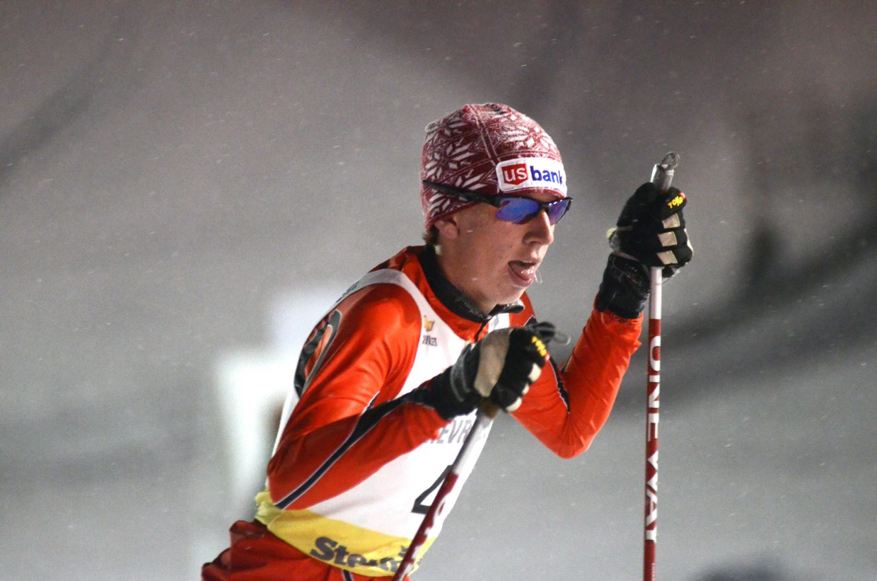 Jared Shumate, of the Park City Nordic Ski Club, takes off at the start of the 5-kilometer cross-country race during Saturday's Nordic combined competition at Howelsen Hill. Shumate finished third overall in the under-17 division.