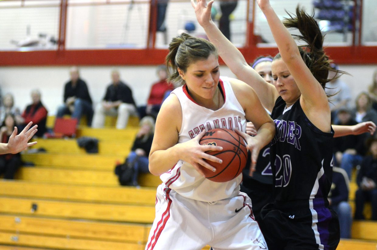Steamboat's Maddie Robertson fights for position on the block against Discovery Canyon in the second half of Steamboat's 30-27 win Friday night.