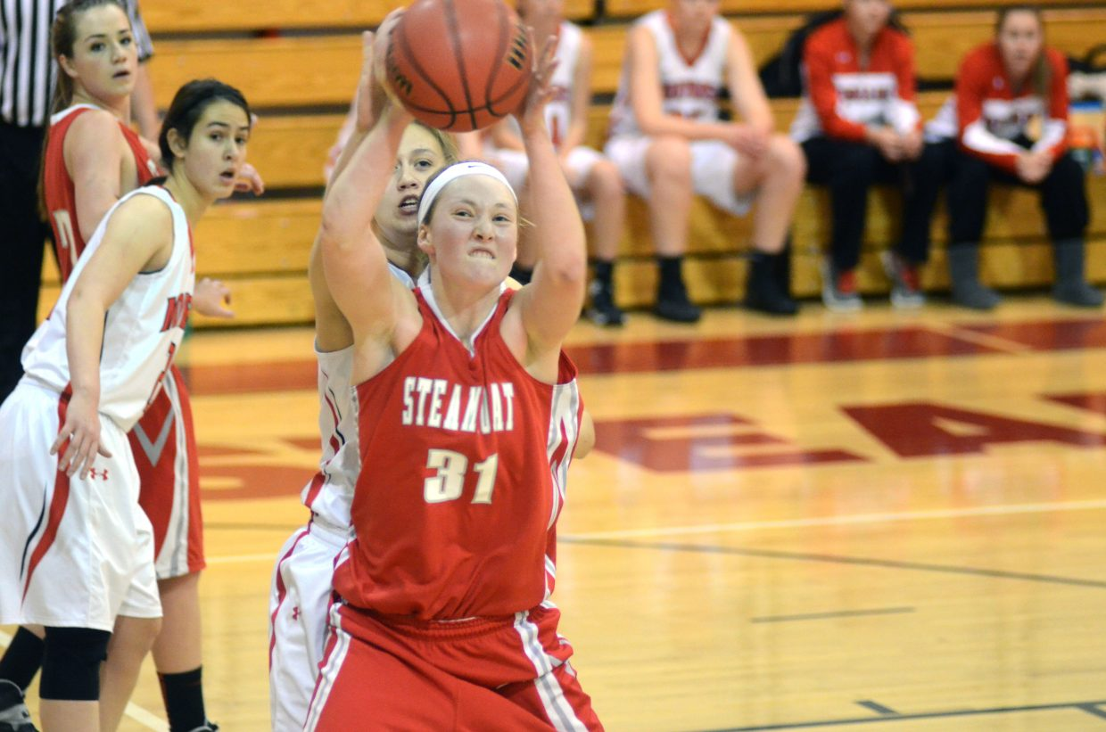 Steamboat senior Maggie Crouch halls in a pass in the second quarter of the Sailors' win over Montrose to close out the Shoot-Out tournament.