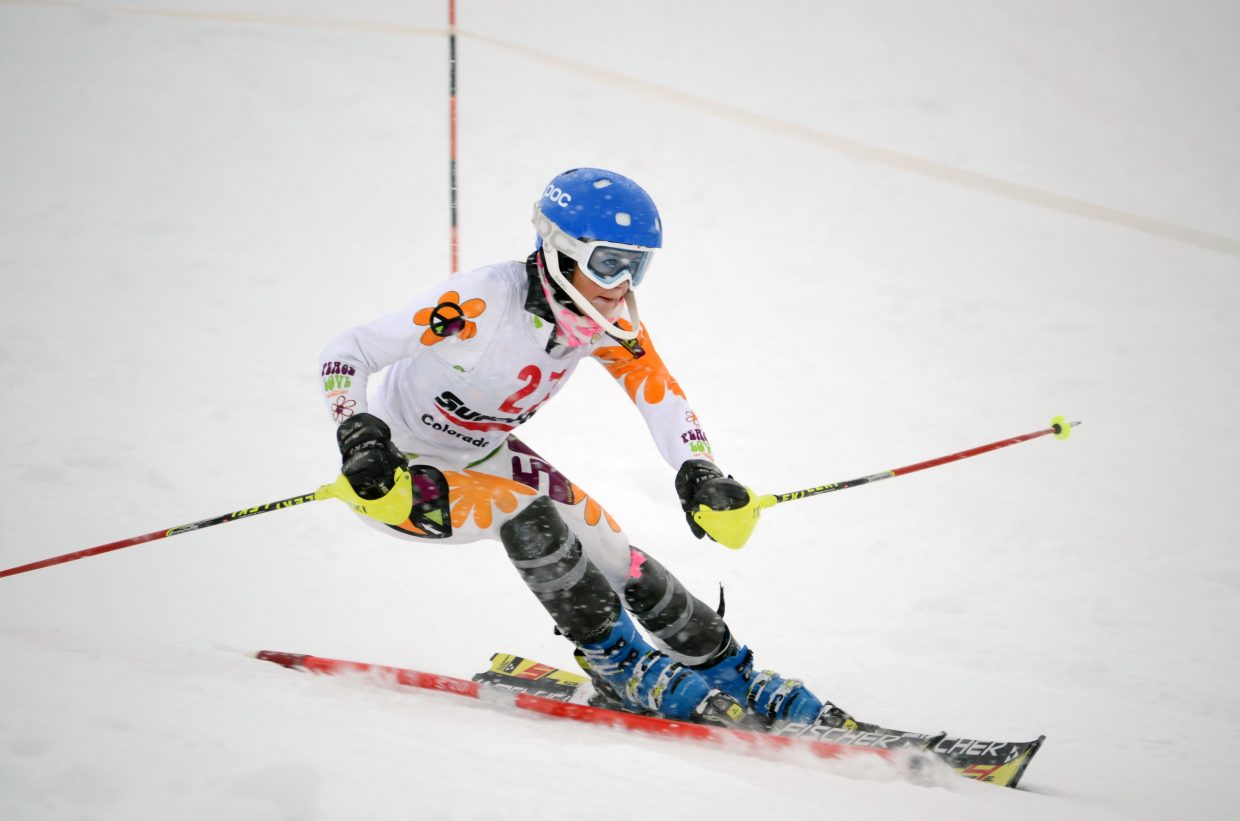 Serina Kidd races down Howelsen Hill in Sunday's Surefoot Holiday Classic finale. Kidd, an under-18 skier, led all Steamboat Springs Winter Sports Club athletes with an 18th-place finish.
