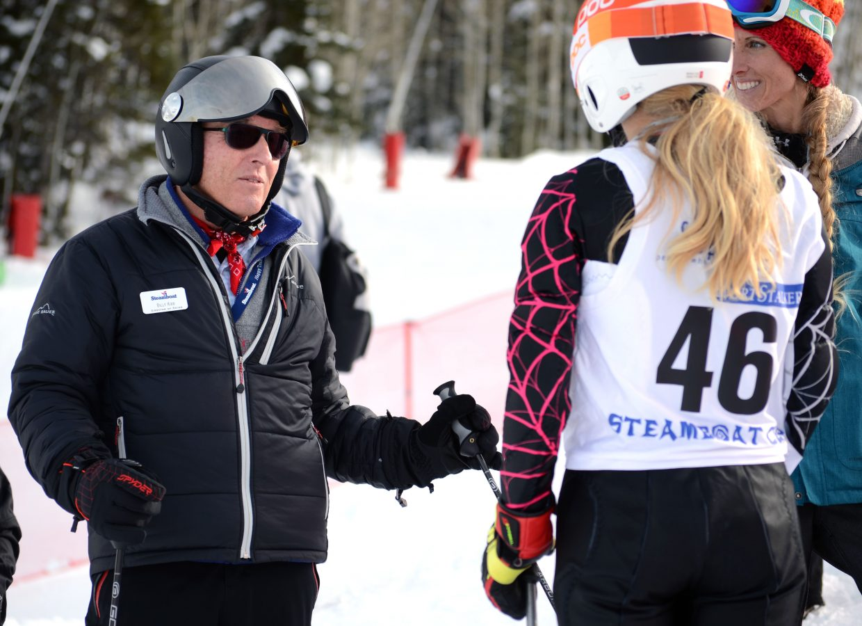 Olympic silver medalist and Steamboat Ski Area Director of Skiing Billy Kidd gives Willow Washaubaugh, 12, some pointers following her run in the Steamboat Cup's U14 girls division.
