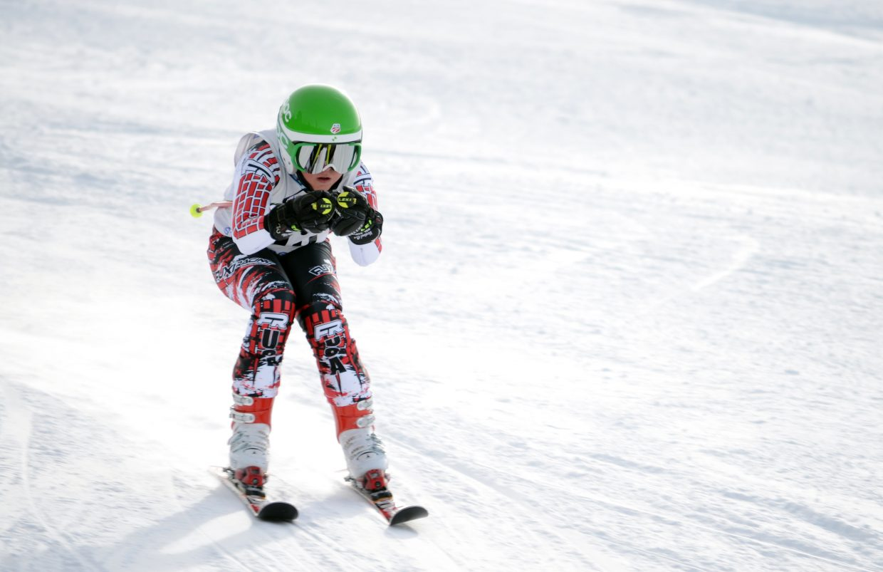 U14 skier Jack Rotermund races toward the finish in the Steamboat Cup giant slalom Saturday at Steamboat Ski Area.