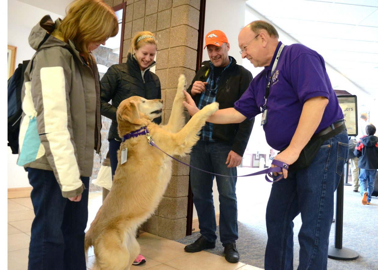 Bingo gets a few high-fives from her owner Jim Stimson, right, as the Ramstad family gets ready to board their plane and head back to Philadelphia on Sunday.
