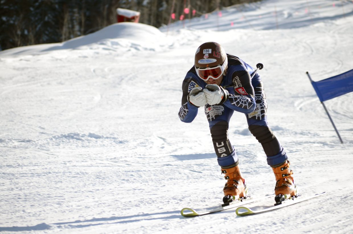 David Lamb, 32, came in second place in the men's division Sunday afternoon during the Town Challenge giant slalom at Steamboat Ski Area.
