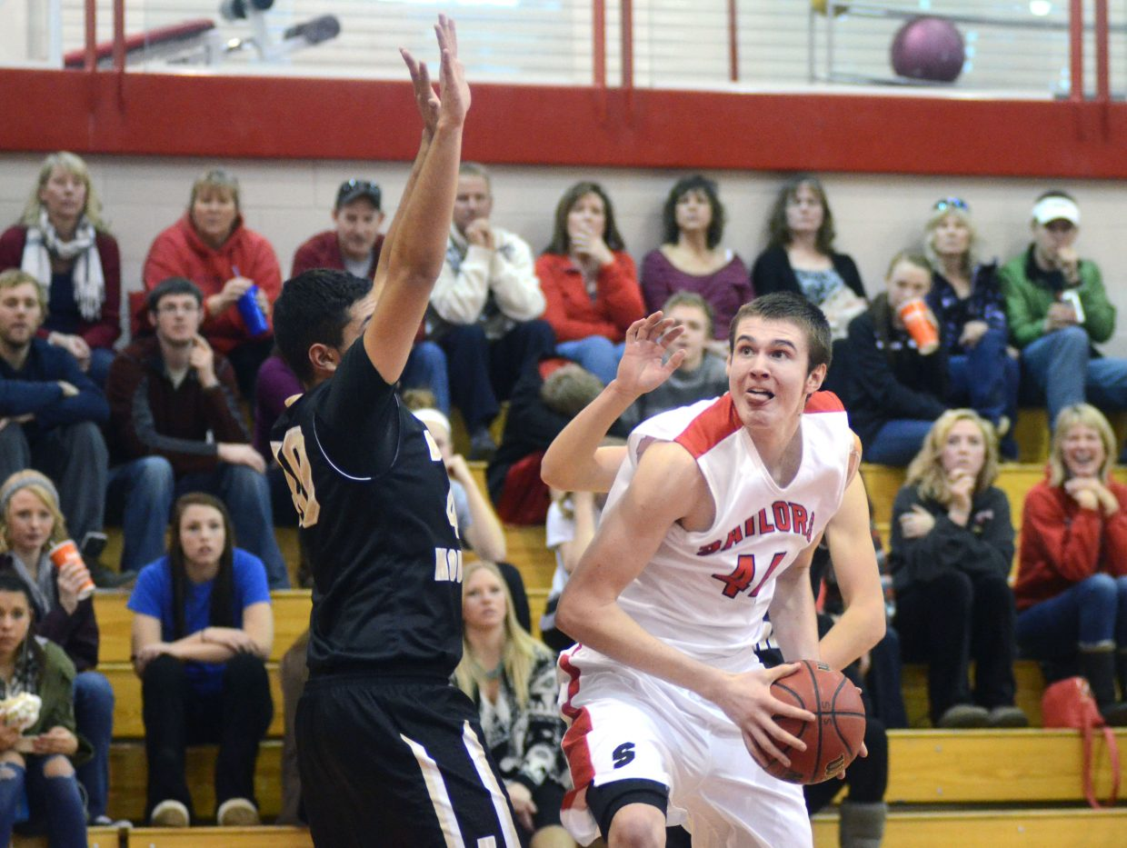 Steamboat center Garrett Bye looks for his shot in the second quarter of Saturday's win against Battle Mountain.