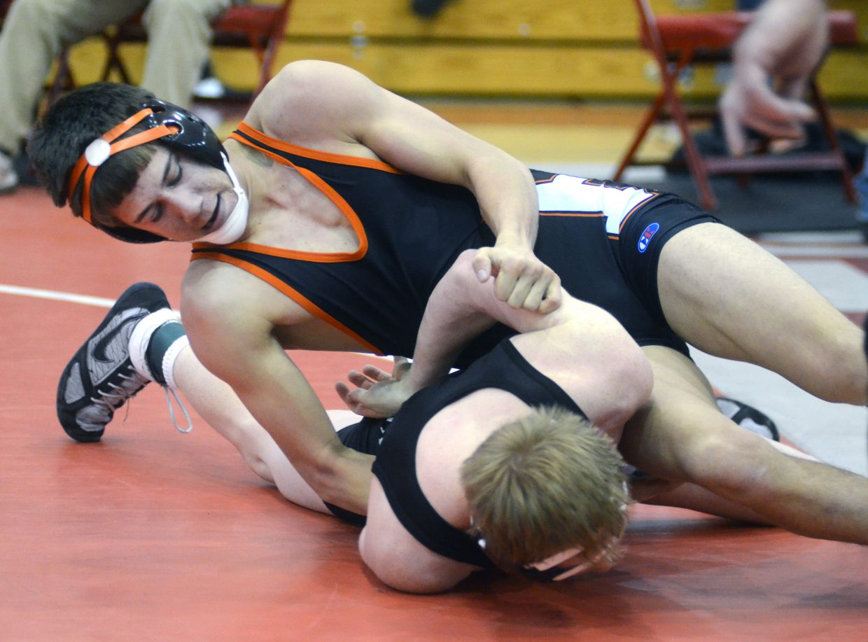 Hayden's Tanner Guire tangles with Middle Park's Bryce Weimer in the Carl Ramunno Invitational on Saturday. Guire was second at 126 pounds and Weimer was fourth.