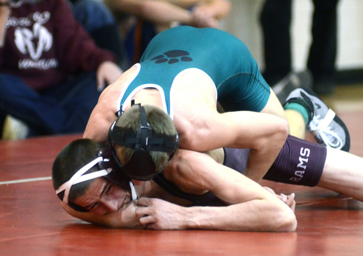 Soroco's Colton Martindale struggles with Summit's Nick Wittrock at the Carl Ramunno Invitational on Saturday. Wittrock was first at 126 pounds and Martindale was third.