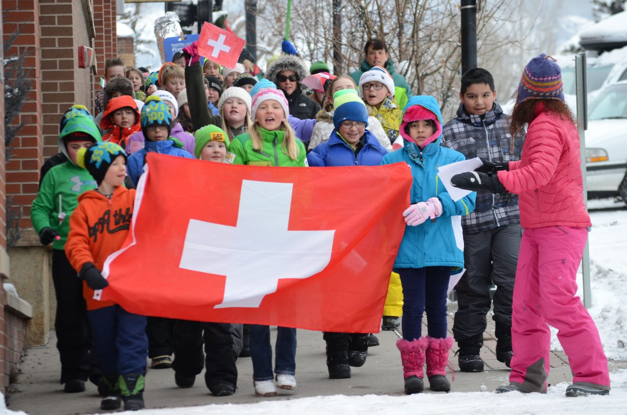 Sherry Meadows' fourth-grade Soda Creek students march down Eighth Street in downtown Steamboat Springs toward Howelsen Hill during the school's version of the Parade of Nations.