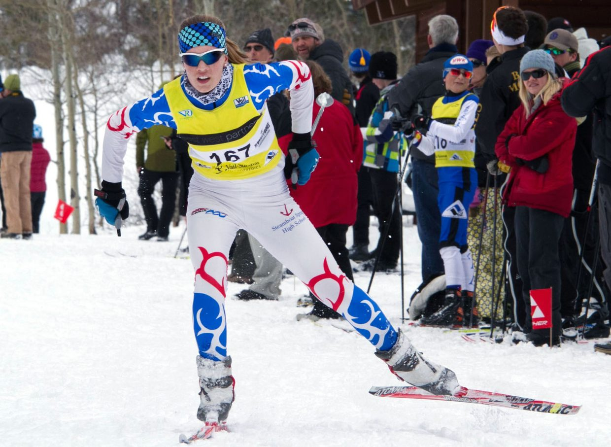 Steamboat's Natalie Bohlmann was the top finisher in the Sailors' regular-season finale last week in the Minturn 5K Skate. Bolhmann and the rest of the Sailors now are focused on the upcoming state finals.
