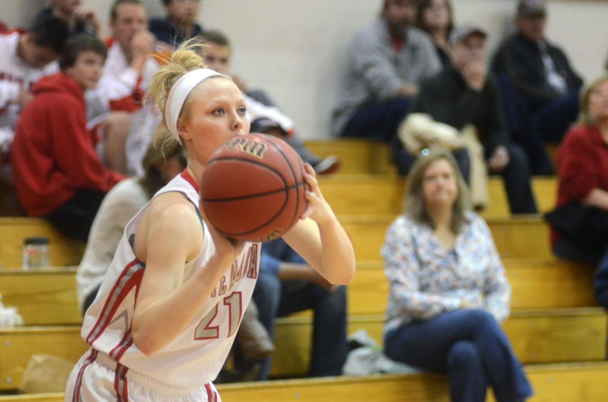 Senior Mikaila Jegtvig sizes up a three in the first half of the Sailors' two-point win over Eagle Valley on Saturday.