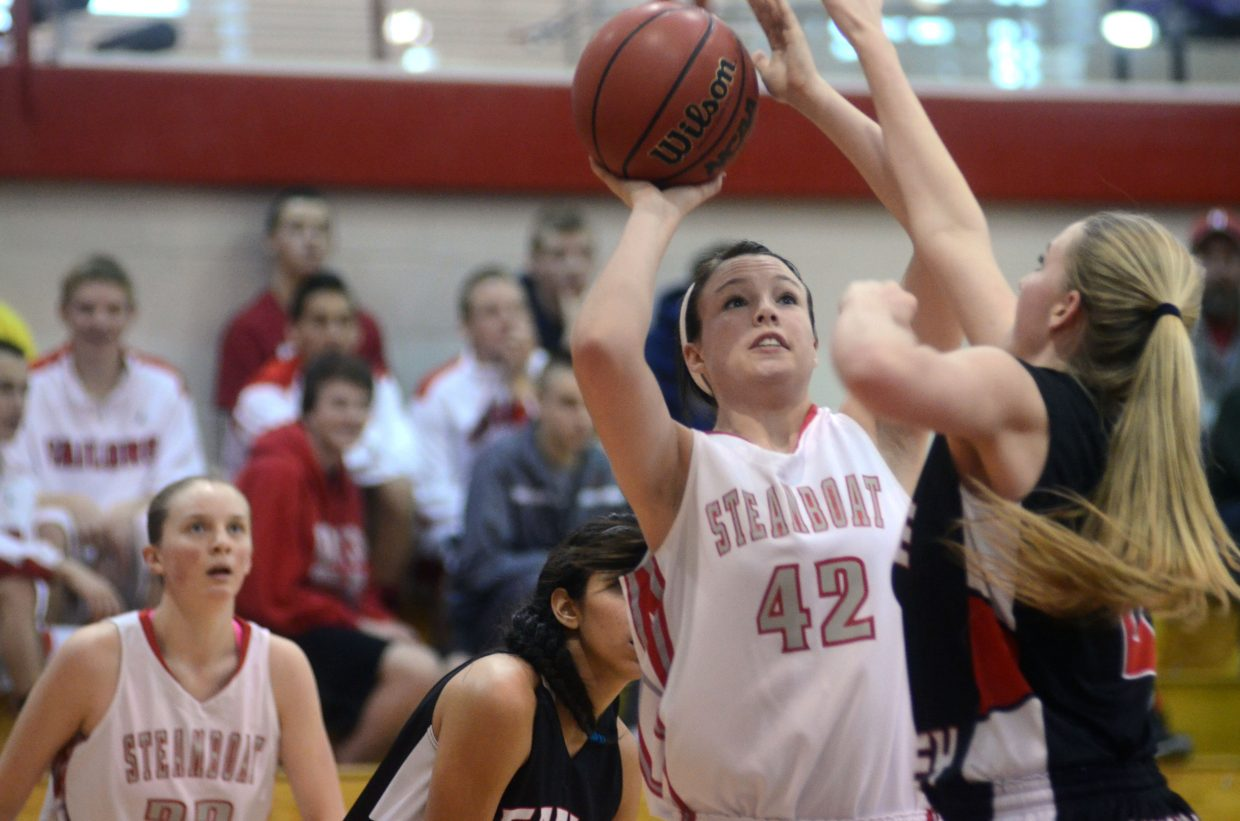 Steamboat senior Amaris Duryea, 42, looks for her shot against Eagle Valley in the Sailors 43-41 win.