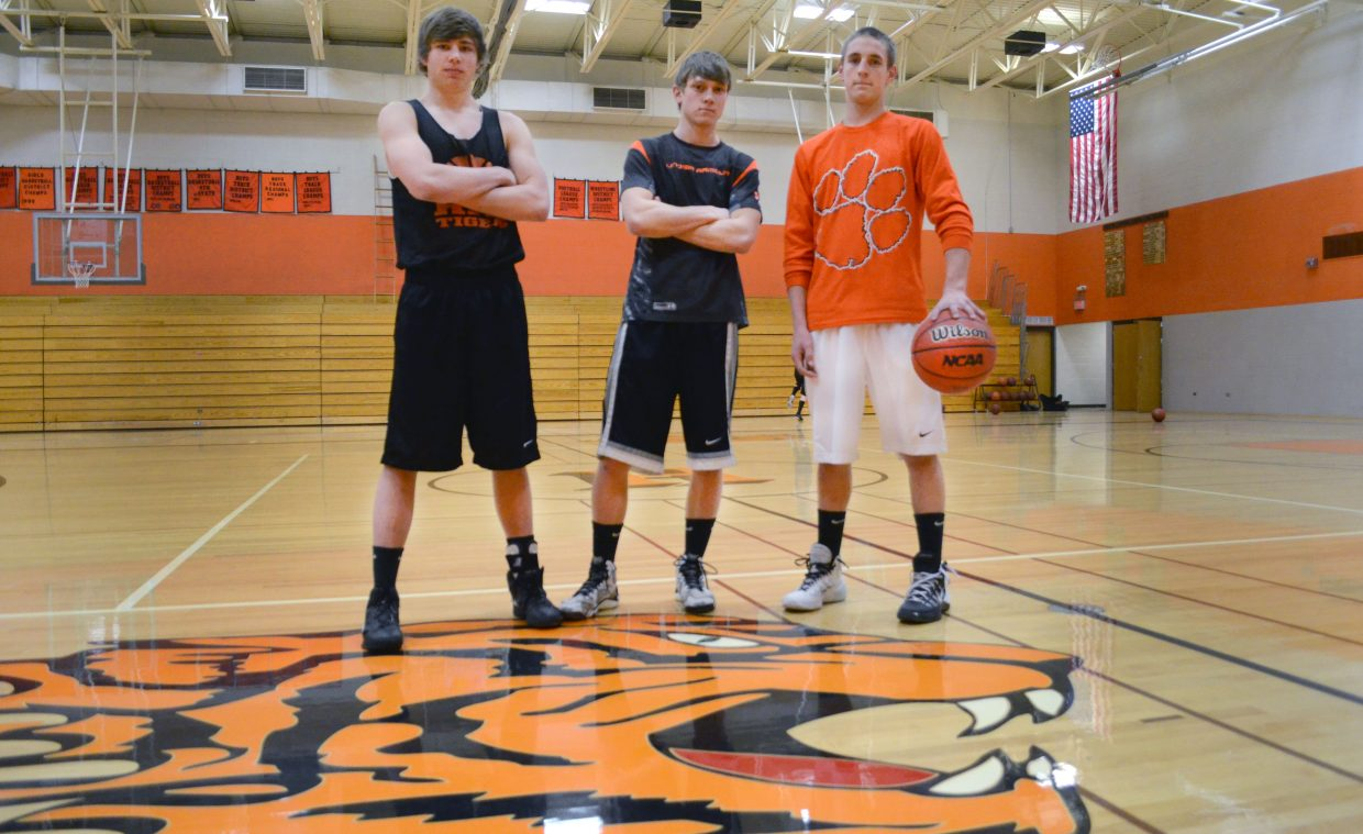 Hayden basketball seniors, from left, Greg Frentress, Dan Engle and Isaac Bridges have been playing together since third grade. The trio is looking for one last successful run as the Tigers' season nears its end.