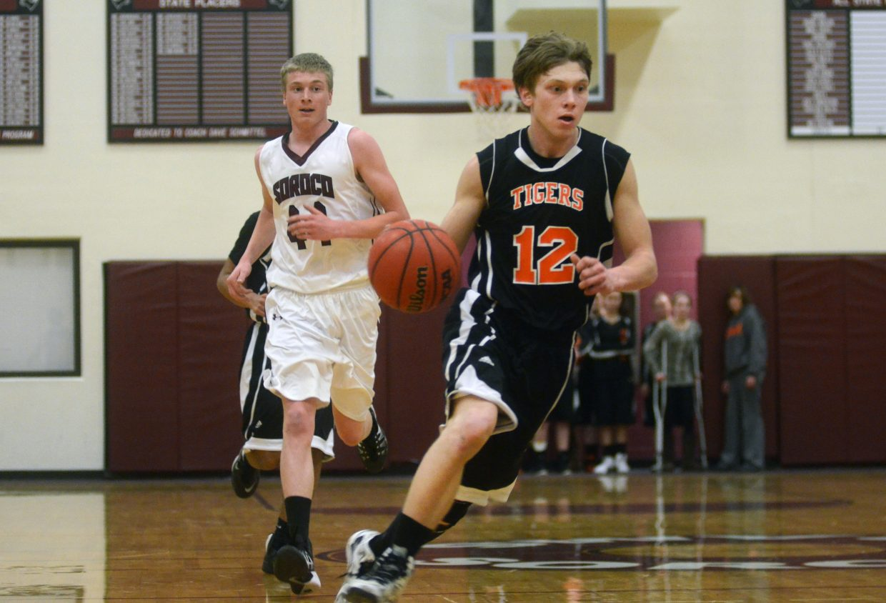 Tigers senior Dan Engle opens a fast break in the fourth quarter of Hayden's 39-37 win at Soroco on Friday night.