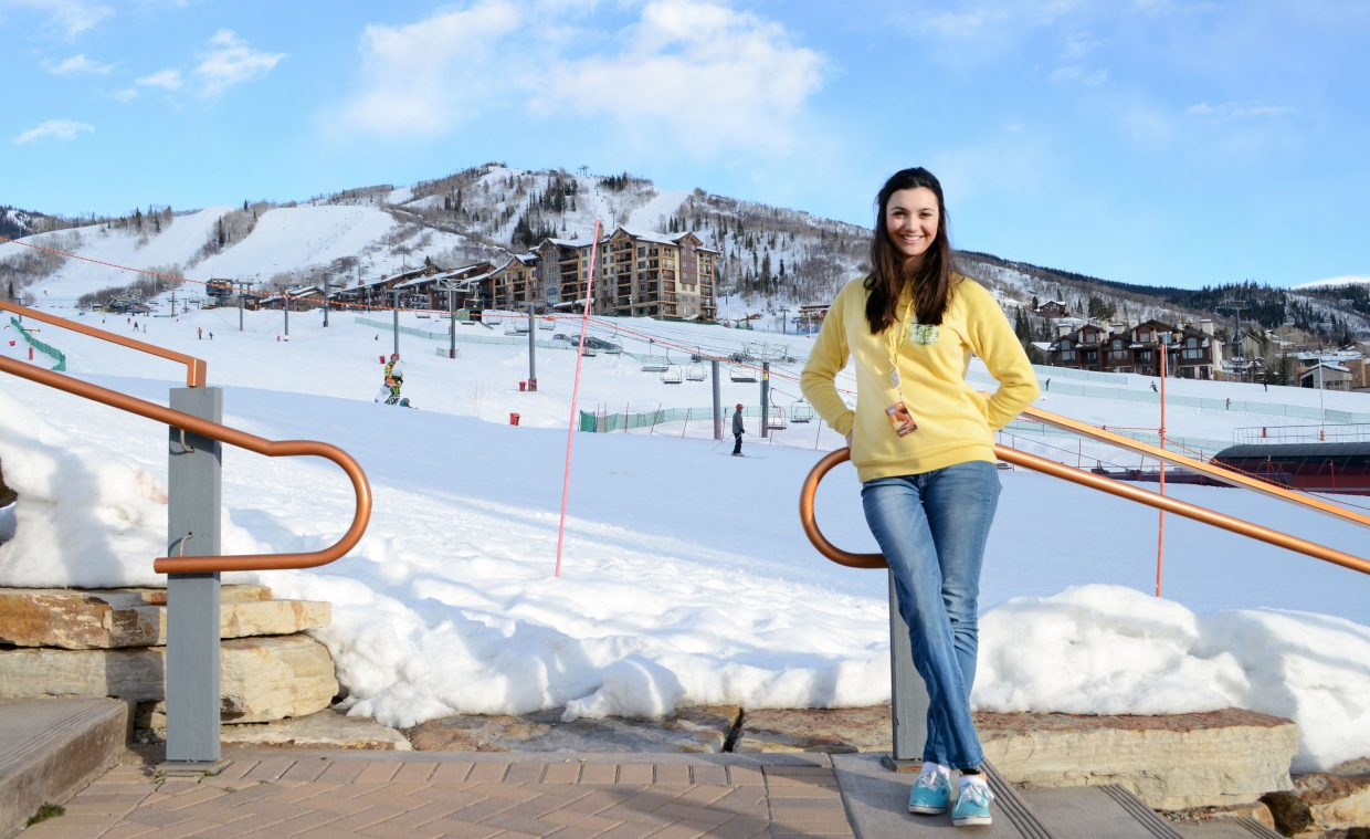 Brenna Huckaby, 18, has been cancer free for three years but lost her right leg to amputation in 2010. She has picked up snowboarding with rapid success and is in Steamboat this week with 21 others through The Sunshine Kids program.