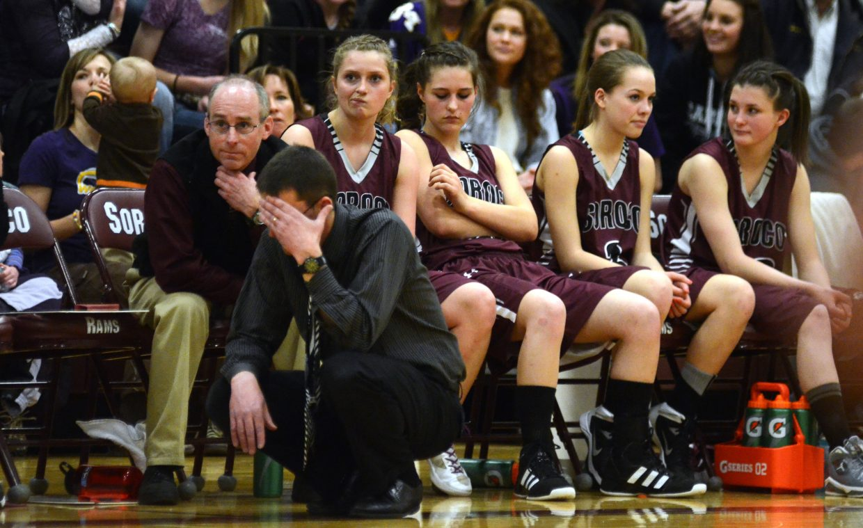 Soroco girls coach David Bruner and his bench wear looks of frustration in the fourth quarter of the Rams' 62-45 loss Friday night at the District 5 tournament.