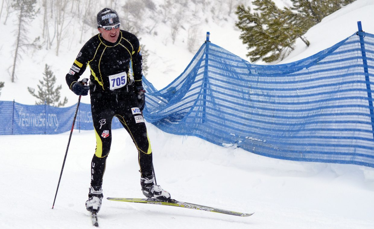 Allen Belshaw, of Steamboat, races toward the finish of the 10th annual Glide the Divide ski race. Belshaw was registered for the 100K race, though many competitors backed out mid-race due to rough weather.