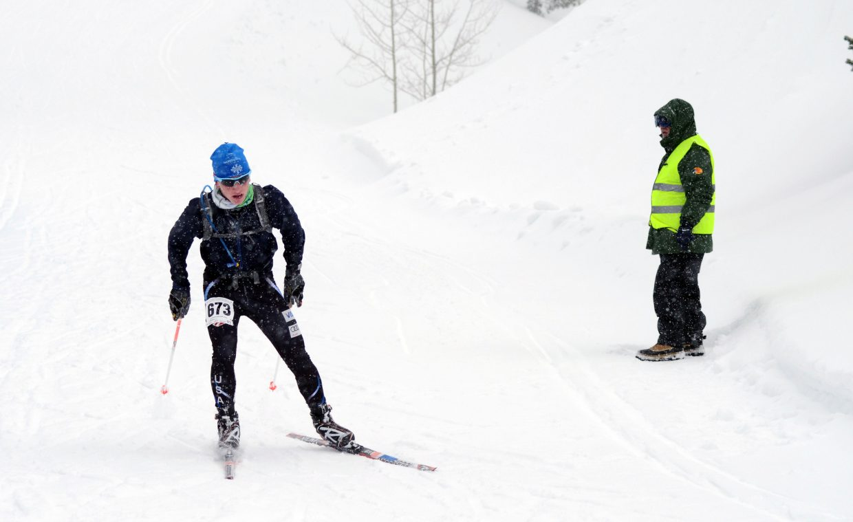 "Steamboat Springs Winter Sports Club junior Nordic skier Lars Hannah makes his final push in the 50K race of the annual Glide the Divide on Saturday in North Routt. Hannah called the course ""terrifying"" in some parts due to nasty patches of weather."