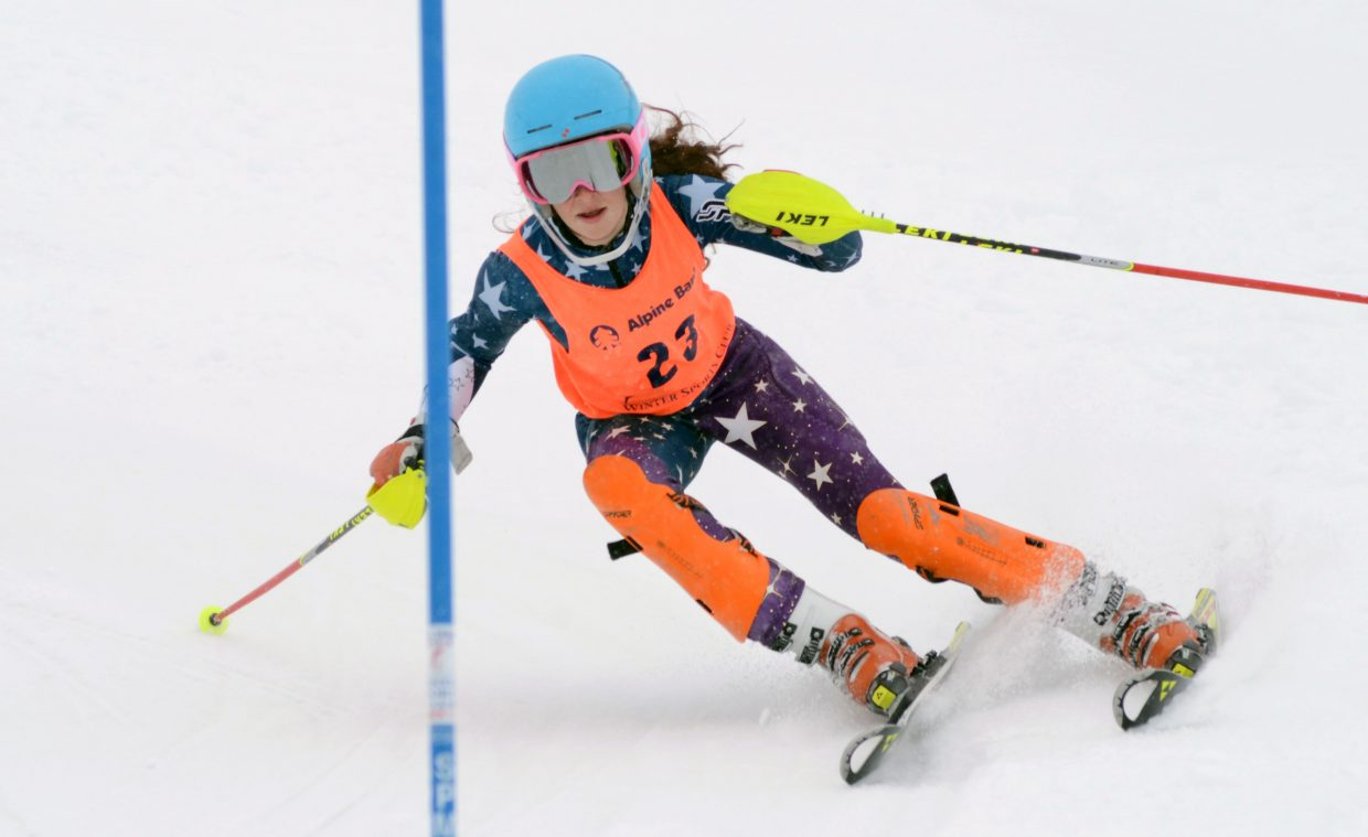 Steamboat's Madeline Boucher slices down Howelsen's face in her second run of the SmartWool Championships on Saturday. Boucher finished 17th.